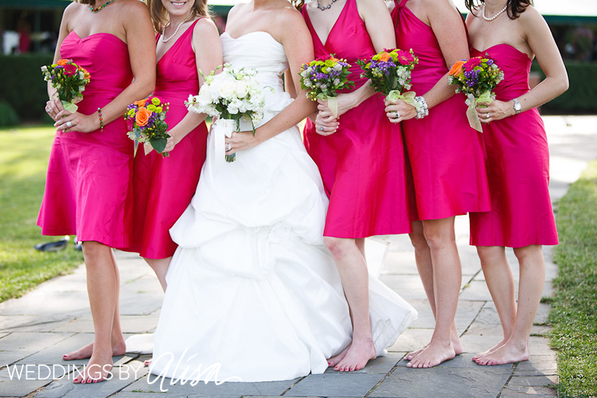 Hot pink and orange wedding details (Oakmont Country Club Pittsburgh ...