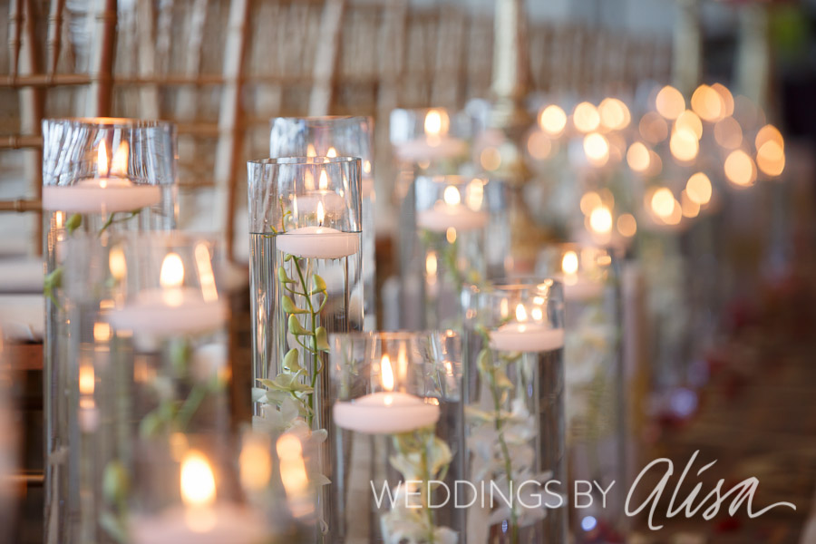 Candles Along The Aisle At Wedding Ceremony