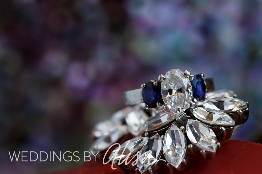 Colorful sparkly wedding ring shot