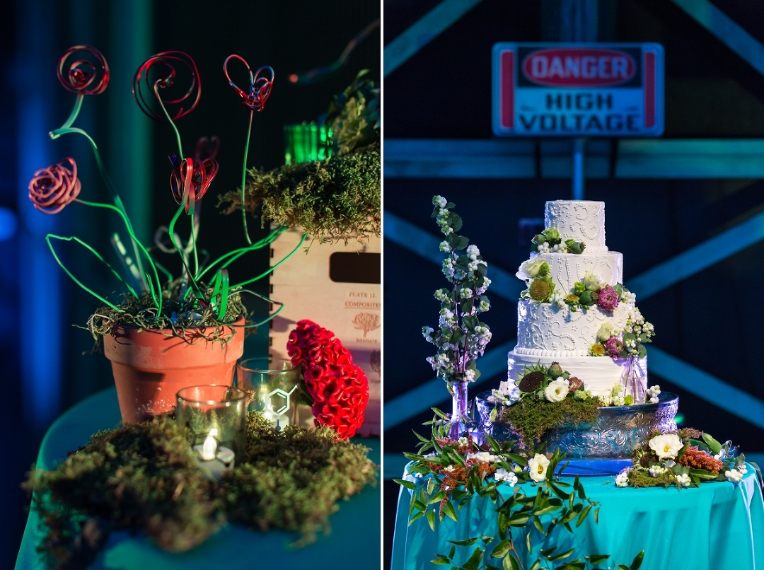 The Mixture Of Beautiful Clic Wedding Decor With A Colorful And Educational Science Backdrop Was Pretty Awesome