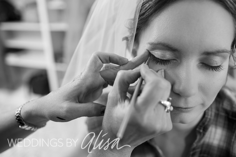 Bride getting ready for wedding at St. Alphonsus in Springdale, PA