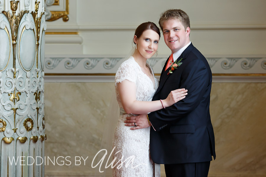 Bride and Groom after Wedding Ceremony in Heinz Hall Pittsburgh