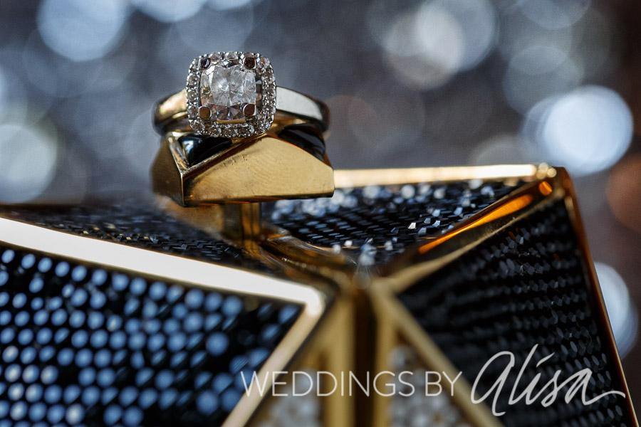 Glamorous and glittery engagement ring shot