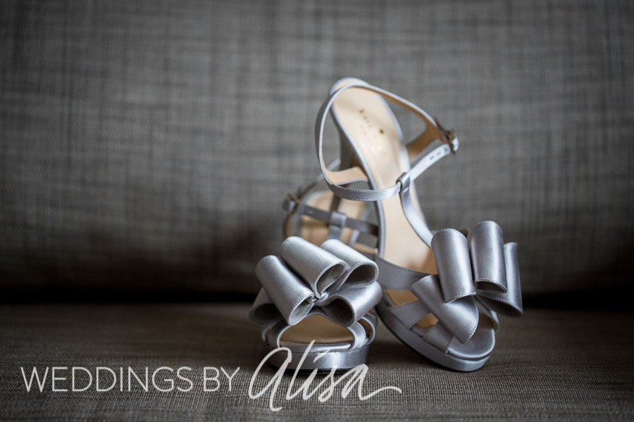 Kate Spade silver wedding high heels with bow