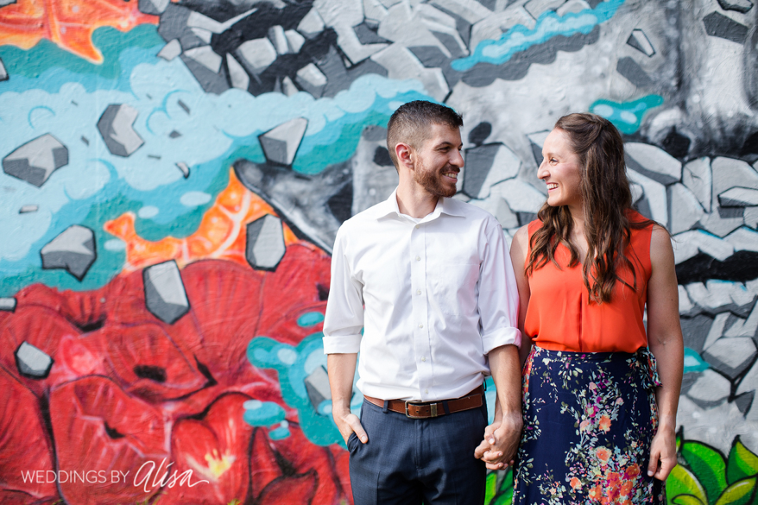 Colorful graffiti at engagement session