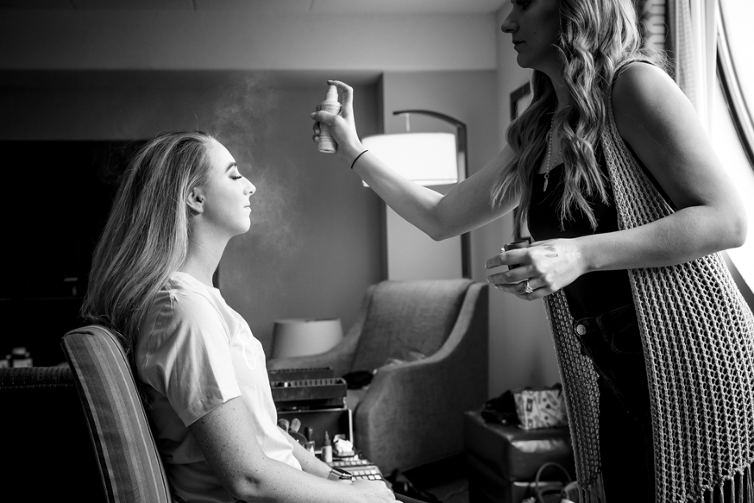 Bride getting ready for her Heinz Memorial Chapel wedding